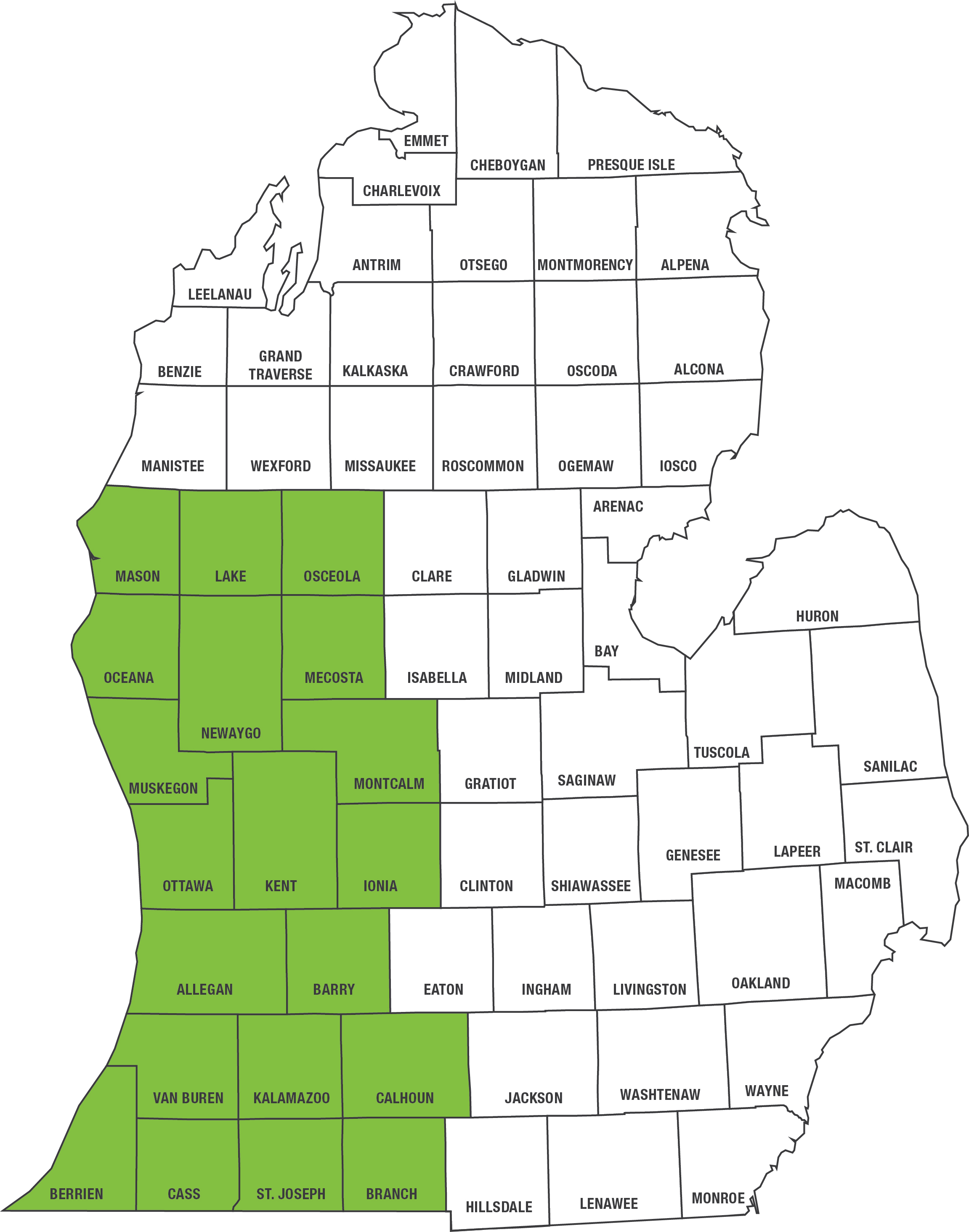 Medicaid, Healthy Michigan Plan and MIChild service area map