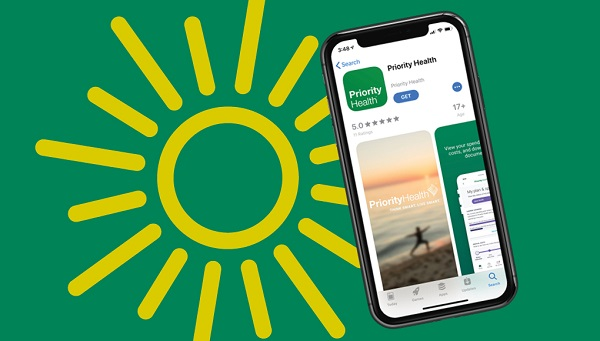 priority health app on phone with sun on green background