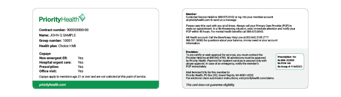 Priority Health Choice HMI ID card example