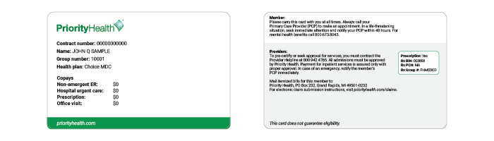 Priority Health Choice MDC ID card example