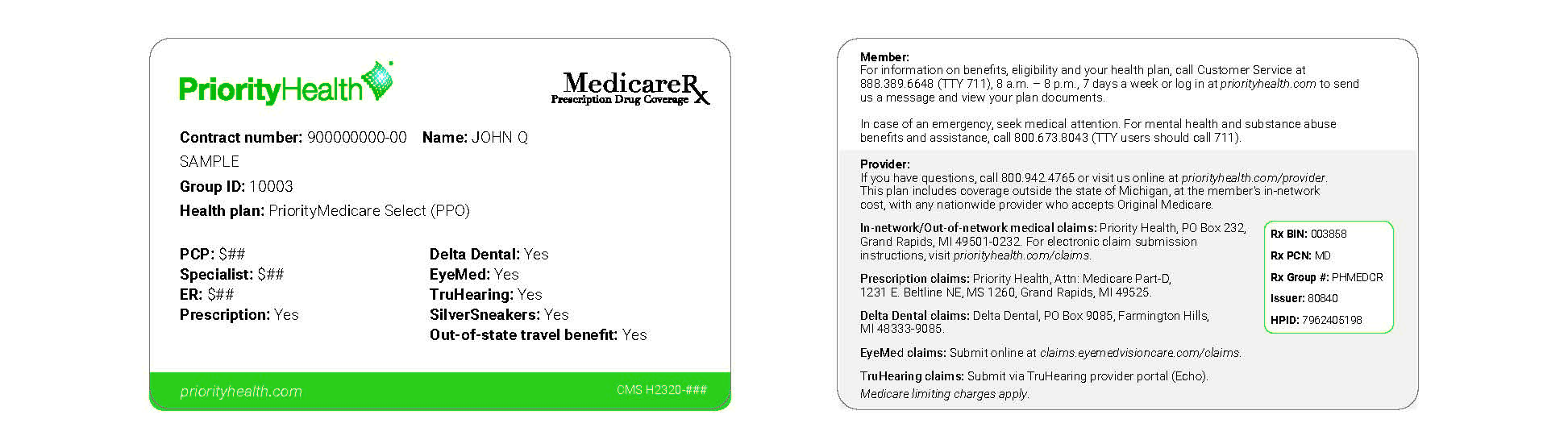 PriorityMedicare Select PPO ID card example