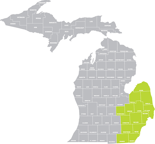 eastern michigan counties map light green