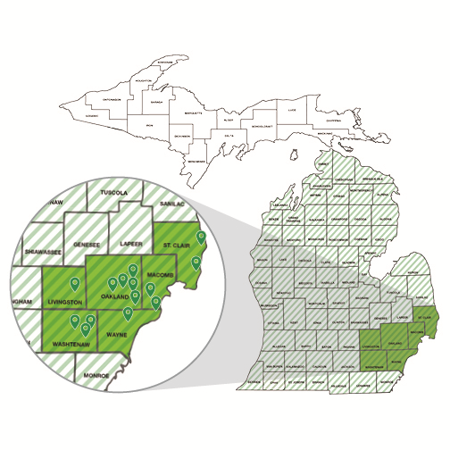 Southeast MI Partners map