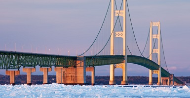 Mackinac Bridge Snow